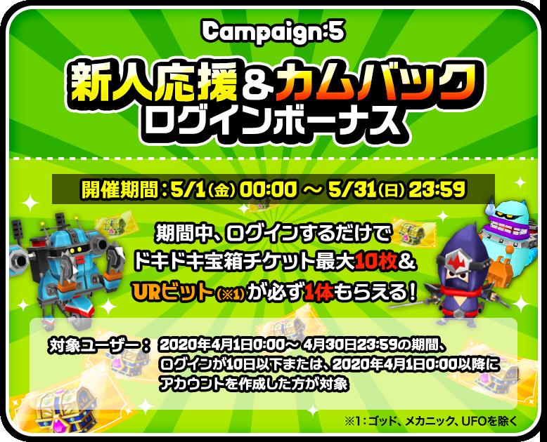 Campaign:5 新人応援&カムバックログインボーナス